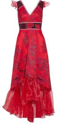 Marchesa Asymmetric Organza-paneled Brocade Gown
