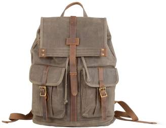 EAZO - Waxed Canvas Backpack with Two Front Pockets Green