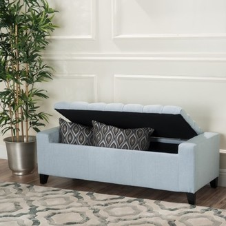Noble House Hawkson Light Sky Fabric Storage Ottoman