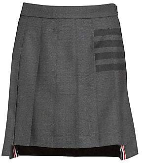 Thom Browne Women's Dropped-Back Four-Bar Mini Pleated Skirt