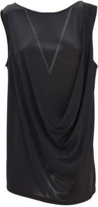 Fabiana Filippi Black Viscose Jersey Crepe Fabric Tank Top.