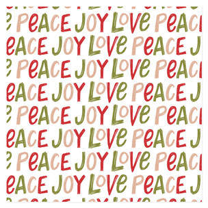 Hand Lettered Joy Love Peace Self-Launch Wrapping Paper