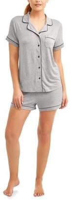 Secret Treasures Women's and Women's Plus Short Sleeve Notch Collar & Short Pajama Set