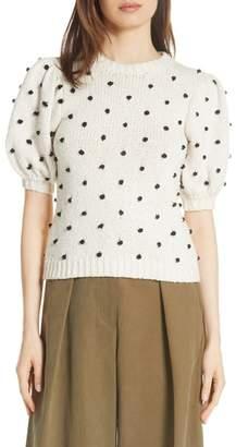 Ulla Johnson Bettine Puff Sleeve Polka Dot Sweater