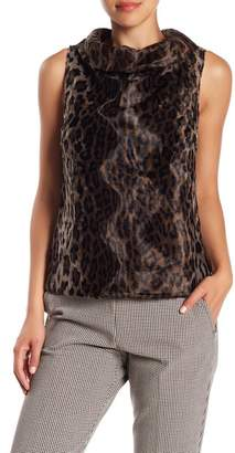 Trina Turk Kailee Faux Fur Cowl Neck Sleeveless Sweater