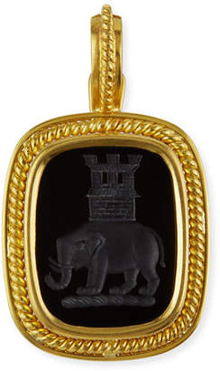 Elizabeth Locke 19k Elephant and Castle Onyx Pendant