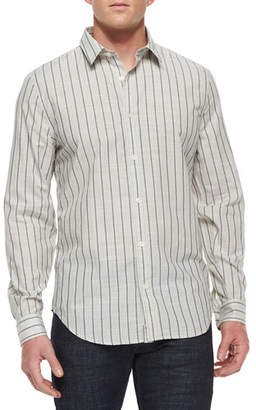 7 For All Mankind Men's Striped Long-Sleeve Sport Shirt, White/Black
