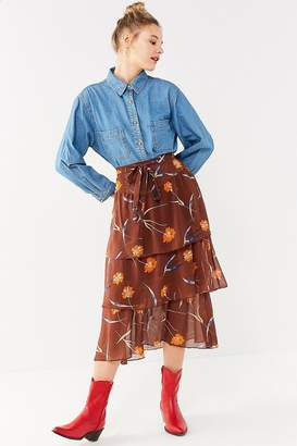 Urban Outfitters Stevie Tiered Ruffle Midi Skirt