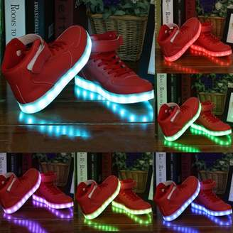 Fashionable willing boy Women Lady Breathable LED Light Lace Up Luminous Shoes Sneaker Size41 Red
