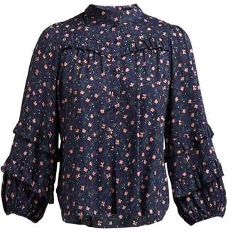 3d404a8ad306e Apiece Apart Bravissima Floral Print Ruffled Blouse - Womens - Navy Multi