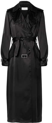 Fleur Du Mal Double-breasted Satin Trench Coat - Black