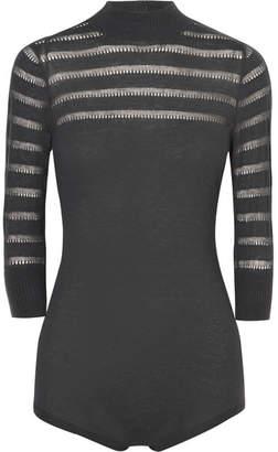 Eres Classy Pointelle-knit Cashmere Bodysuit - Gray