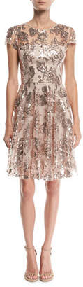 Milly Meg Sequin Embroidered Tulle Dress