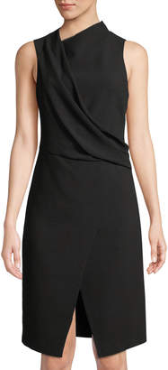 Halston Mock-Neck Draped Front Dress