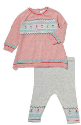 Angel Dear Fair Isle Knit Dress w/ Matching Leggings, Size 3-24 Months
