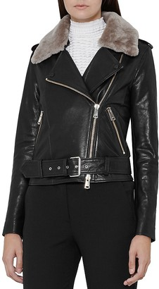 REISS Dree Shearling Collar Leather Moto Jacket $935 thestylecure.com
