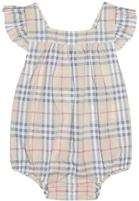 Burberry Baby Check cotton playsuit