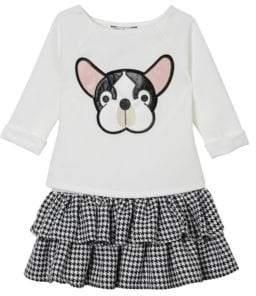 Little Girl's Bulldog Raglan-Sleeve Dress