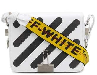 Off-White White Diagonal flap leather shoulder bag
