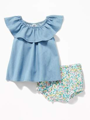 Old Navy Ruffled Chambray Top & Floral Bloomers Set for Baby