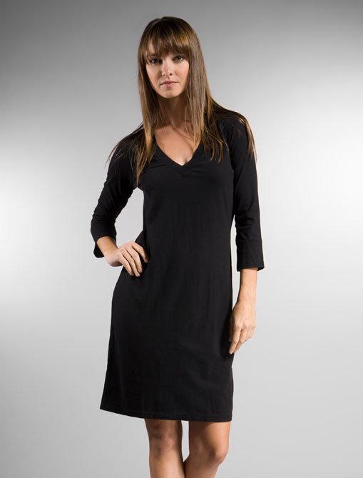 James Perse Vintage Long Sleeve V-Neck Dress in Black