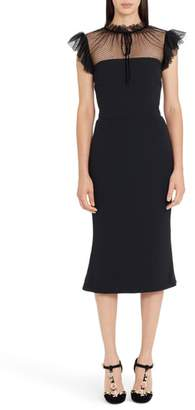 Dolce & Gabbana Mesh Yoke Stretch Cady Sheath Dress