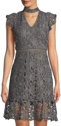 J.o.a. Lace Choker-Neck Dress