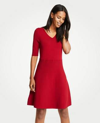 Ann Taylor Tall Wide V-Neck Flare Sweater Dress