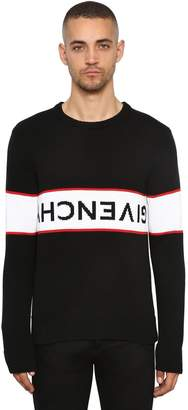 Givenchy Logo Intarsia Crewneck Cotton Sweater