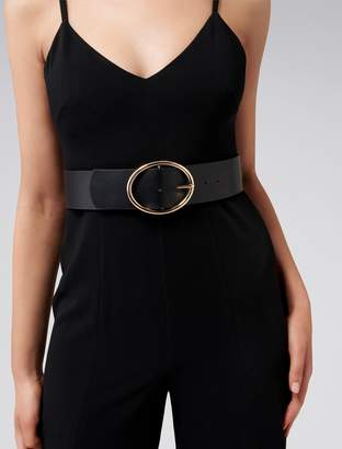 Forever New Tyra Oval Buckle Wide Belt - Black. - xs s