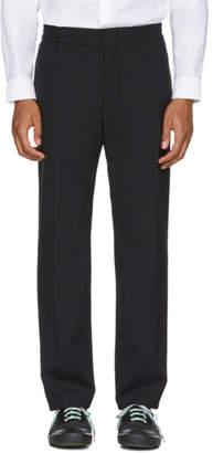 MSGM Black Wool Elastic Waist Trousers