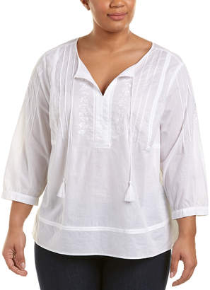 NYDJ Plus Embroidered Voile Top