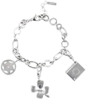 Montblanc Mont Blanc 925 Sterling Silver Diamond Clover Charm Bracelet
