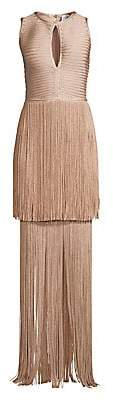 Herve Leger Women's Sleeveless Tiered Fringe Keyhole Gown