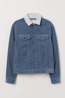 H&M Pile-lined Corduroy Jacket - Blue
