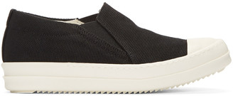 Rick Owens Drkshdw Black Canvas Boat Sneakers $605 thestylecure.com