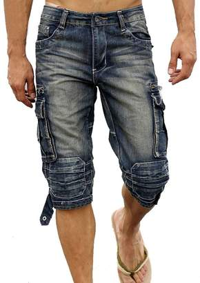 3.1 Phillip Lim Idopy Men`s Cargo Denim Biker Jeans Shorts With Zippers 36