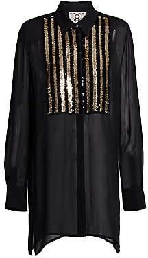 Figue Women's Bohemian Rhapsody Capria Sequin Silk Tuxedo Blouse