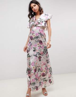 Asos DESIGN lace insert ruffle maxi dress in pretty floral print