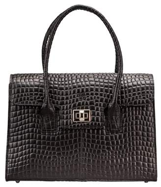 Maxwell Scott Bags Italian Crafted Croc Print Laptop Handbag In Black