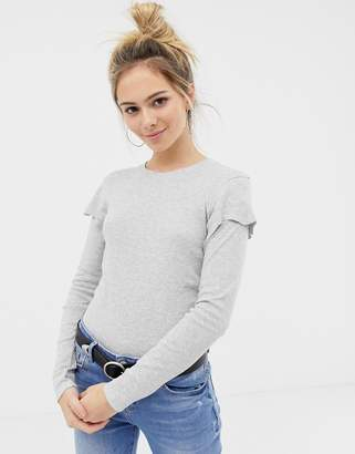 Brave Soul lydialong sleeve top with frill detail