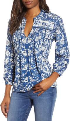 Lucky Brand Paisley Print Peasant Blouse