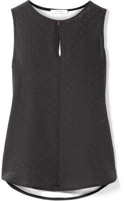 Max Mara Polka-dot Silk And Stretch-jersey Top - Black