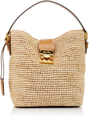 Mark Cross Murphy Leather-Trimmed Raffia Tote