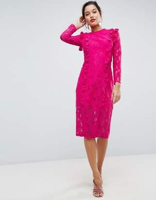 Asos Lace Ruffle Midi Column Dress