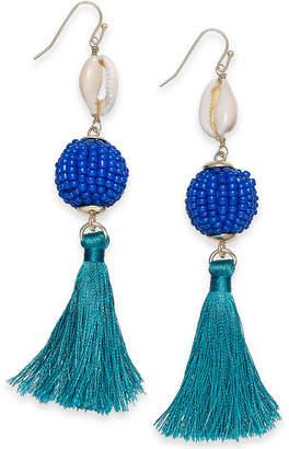 INC International Concepts I.N.C. Gold-Tone Shell, Beaded Ball & Tassel Drop Earrings, Created for Macy's