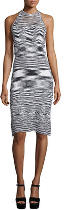 Elie Tahari Josie Sleeveless Fitted Sweater Dress, Black/White $298 thestylecure.com