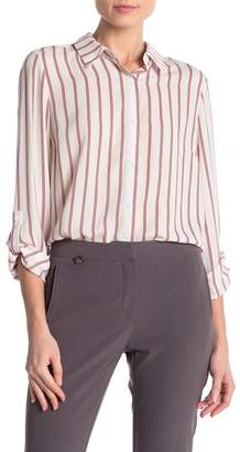Adrianna Papell Long Sleeve Striped Chiffon Blouse