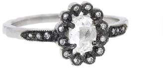 Cathy Waterman Oval Diamond Flower Ring - Platinum