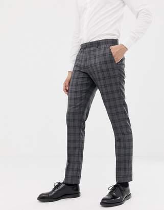 Farah Smart slim fit check suit pants in gray